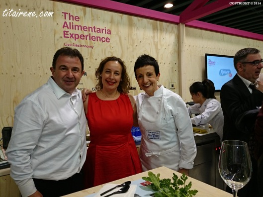 From left to right: Chef Martin Berasategui, Irene Morcillo (tita irene) and Chef Carme Ruscalleda