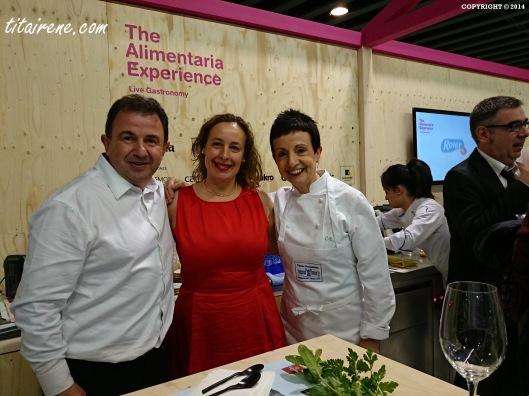 From left to right: Chef Martin Berasategui, Irene Morcillo (tita irene) and Chef Carme Ruscalleda