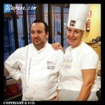 Pastry chef Carles Mampel and Irene at the choux pastry workshop