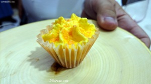 Chef Dani García offers me his savoury Carrot Cupcake with edible paper