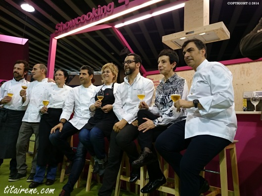 From left to right: 2 starred Chef Nacho Manzano, 5 starred Chef Paco Pérez, Pastry chef Lola Vélez, 2 starred Chef Paco Roncero,  2 starred chef Mari Carmen Vélez, 3 starred Chef Quique Dacosta, 7 starred chef Carme Ruscalleda and 2 starred chef Ramón Freixa.