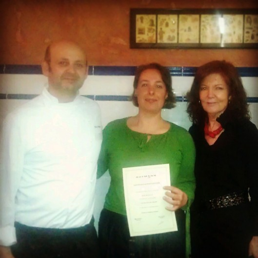 One of my Chef Pastry instructors, Eric Ortuño, Irene Morcillo (tita Irene) and Mey Hofmann, at Hofmann Cookery School in Barcelona