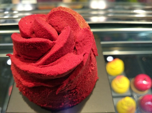 A rose cake prepared by the World's best pastry chef Josep Mª Rodriguez. Roses commemorate the St. George's celebration in the city of Barcelona.