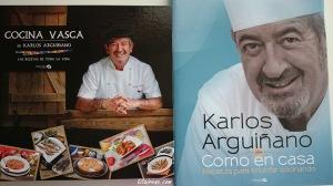 My chef Karlos Arguiñano's books: Cocina Vasca de Karlos Arguiñano & Como en Casa, recetas para triunfar cocinando.