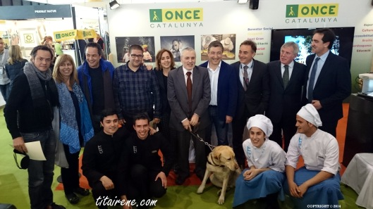 From left to right: Michelin stars Twin brothers Chefs Javier and Sergio Torres, Dani García, gastronomic journalist Cristina Jolonch and  chef Joan Roca with ONCE directors after a blind taste in support of the National Organization of Spanish blind people (ONCE)