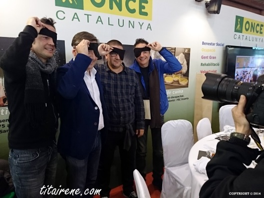 From left to right: Michelin stars Chefs Javier Torres, Joan Roca, Dani García and Sergio Torres, after a blind taste in support of the National Organization of Spanish blind people (ONCE)