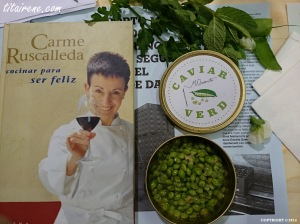 At chef Carme Ruscalleda's Master Class, tasting the green caviar